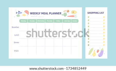 Weekly meal planner and shopping list for organize. Healthy meal plan for diet and food. Vector Printable Template.  Сток-фото ©