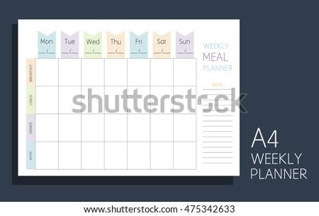 weekly meal planner. horizontal ...