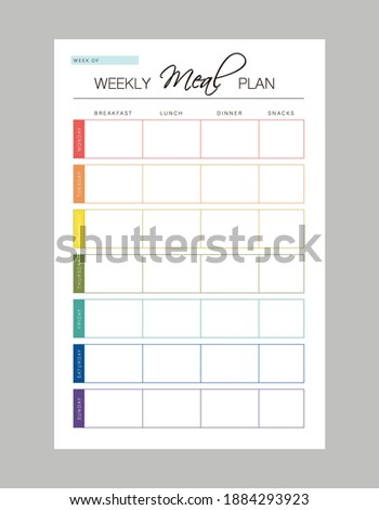 Weekly Meal Planner printable template Vector (colour). Meal planning and groceries list. Easily plan out of your weekly meals for breakfast, lunch, dinner and snacks.
