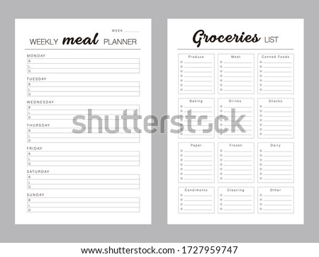 Weekly Meal Planner printable template Vector. Meal planning and groceries list. Easily plan out of your weekly meals for breakfast, lunch and dinner. Simple Clear Vector illustration design.