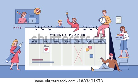 Weekly planner and people. Little people are making plans around a large calendar. flat design style minimal vector illustration.