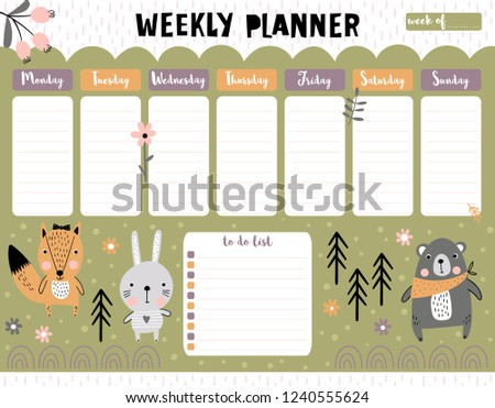 Weekly planner and to do list with cute forest animals. A timetable for elementary school. Vector illustration.