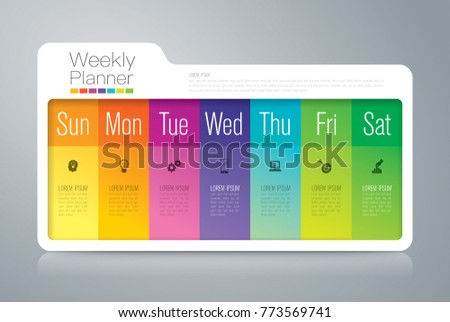 Weekly planner Sunday - Saterday infographics design vector and marketing icons with 7 options, steps or processes.