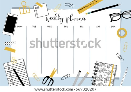 Weekly Planner Template Organizer And Schedule With Place For Notes Vector Illustration