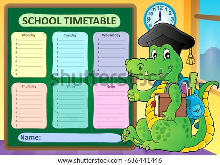 Weekly school timetable subject 8 - eps10 vector illustration.