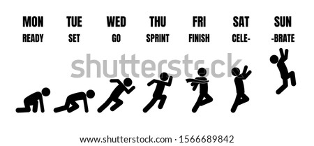 Weekly working life cycle evolution from Monday to Sunday in black stick figure running steps from starting point to finishing line on white background Foto d'archivio ©