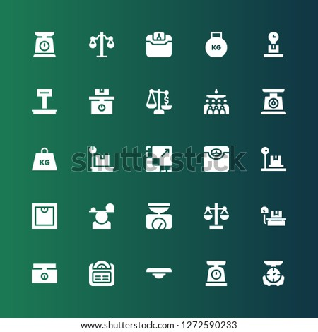 weigh icon set. Collection of 25 filled weigh icons included Scale, Balance, Weighing scale, Weight, Mass