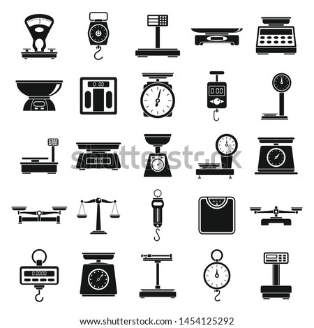 Weigh scales tool icons set. Simple set of weigh scales tool vector icons for web design on white background