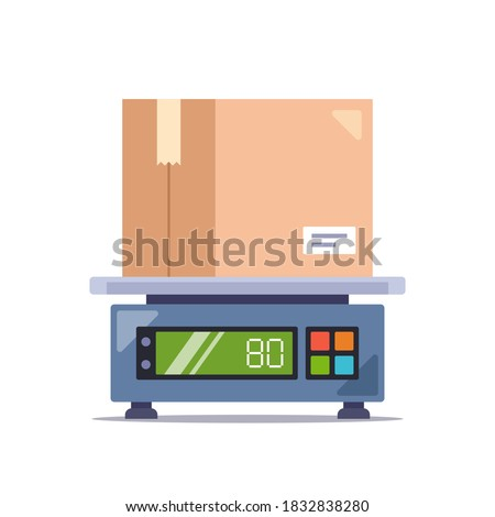 weigh the parcel in a cardboard box on an electronic scale. flat vector illustration isolated on white background Photo stock ©