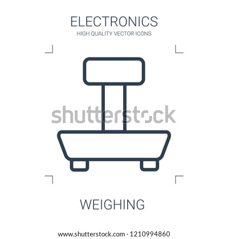weighing icon. high quality line weighing icon on white background. from electronics collection flat trendy vector weighing symbol. use for web and mobile