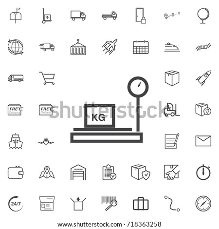 Weighing machine line icon logistics transportation parcel shipping delivery icons set Flat isolated on the white background. Vector illustration.Trendy style for graphic design logo
