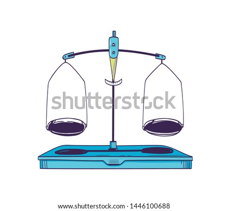Weighing scale or mass balance with two plates in equilibrium isolated on white background. Laboratory equipment or lab tool for measuring weight. Realistic vector illustration in vintage style.