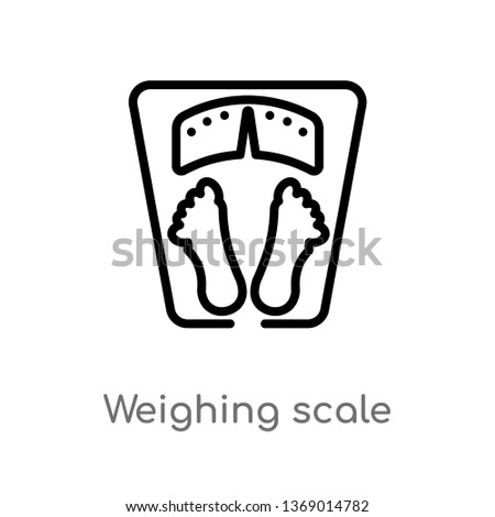 weighing scale vector line icon. Simple element illustration. weighing scale outline icon from gym and fitness concept. Can be used for web and mobile