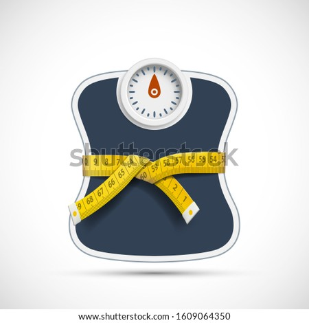 Weighing scales with measuring tape. Weight loss concept. Vector illustration. Сток-фото ©