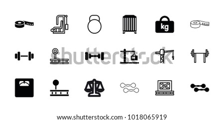 Weight icons. set of 18 editable filled and outline weight icons: barbell, floor scales, construction  crane, construction crane, fintess equipment, gym equipment