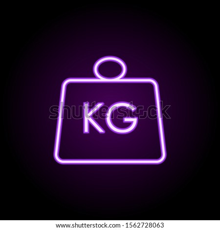 Weight kg neon icon. Simple thin line, outline vector of logistics icons for ui and ux, website or mobile application