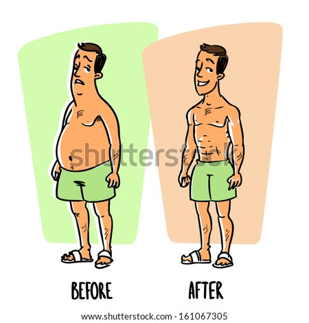 Weight Loss After Before Stock Vector Illustration 161067305 ...