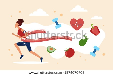 Weight loss concept vector illustration. Cartoon slim woman character slimming after vegetable diet eating, sport fitness exercises and jogging, losing weight control. Healthy lifestyle background