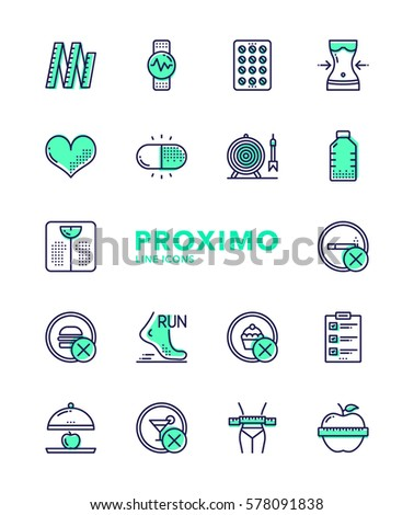 Weight Loss Futuristic Modern Material Design Line Vector Icons