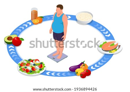 Weight loss. Isometric Healthy Fitness food and Diet planning concept. Healthy eating, personal diet or nutrition plan from dieting expert. Nutrition consulting, diet plan. Excess weight. Protein diet