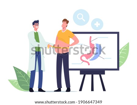 Weight Loss Medicine Concept. Surgeon Doctor Male Character Measuring Waist of Fat Man Prepare Patient for Bariatric Surgery Gastrectomy Procedure in Clinic. Cartoon People Vector Illustration Stock photo ©