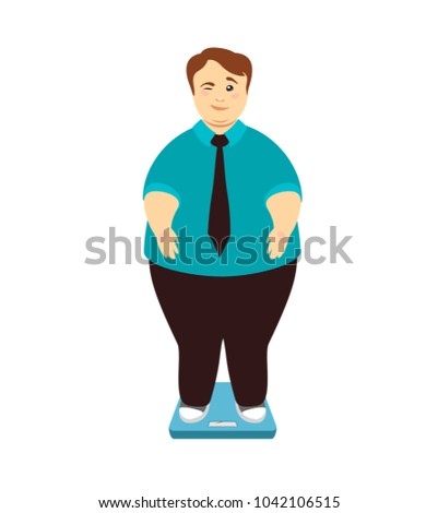 Weight loss. Overweight man on scales winks. Vector illustration