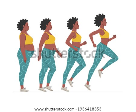 Weight loss stages for an African American woman. Vector illustration of cartoon chubby black woman jogging for weight loss. Isolated on white Photo stock ©