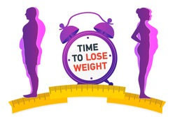 Weight loss. The influence of diet on the weight of the person. Man and woman before and after diet and fitness. Weight loss concept. Fat and thin man and woman.