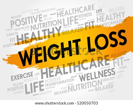 Weight Loss word cloud collage, health concept background