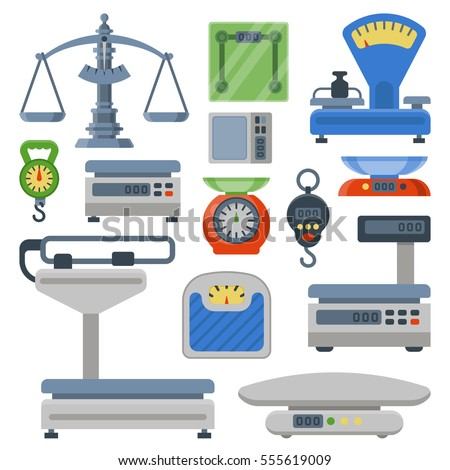 Weight measurement scales balance instrumentation tools vector illustration. Libra scale equipment for shops and store blue and red colors Foto stock ©