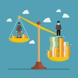 Weight scale between rich man and poor man. Business metaphor concept