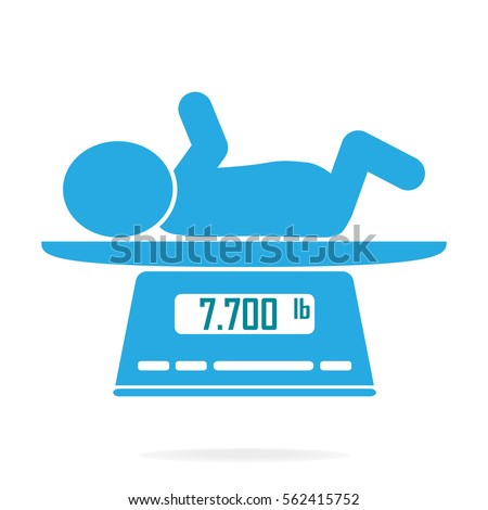 Weight scale for infant icon, Digital scales measure weight in pounds
