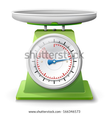 Weight scale on white background. Weighing scales with pan and dial. Qualitative vector (EPS-10) illustration for weight measurement, kitchen appliances,  measuring tool, etc