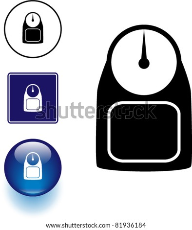 weight scale symbol sign and button