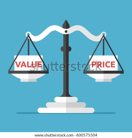 Weight scales weighing white boxes with value and price text. Balance, quality and market concept. Flat design. Vector illustration. EPS 8, no transparency