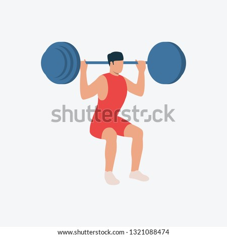Weightlifter flat icon. Squat, barbell, man. Sport concept. Can be used for topics like exercising, fitness, weightlifting, gym