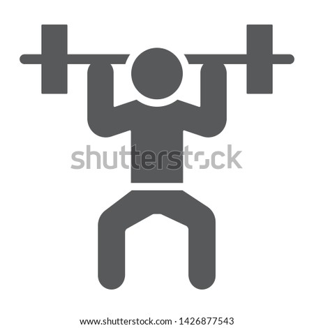 Weightlifter glyph icon, sport and bodybuilding, weightlifting sign, vector graphics, a solid pattern on a white background, eps 10.