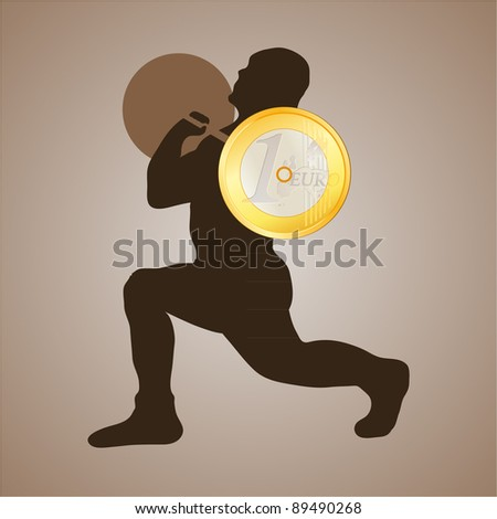 Weightlifter holding the Euro coin