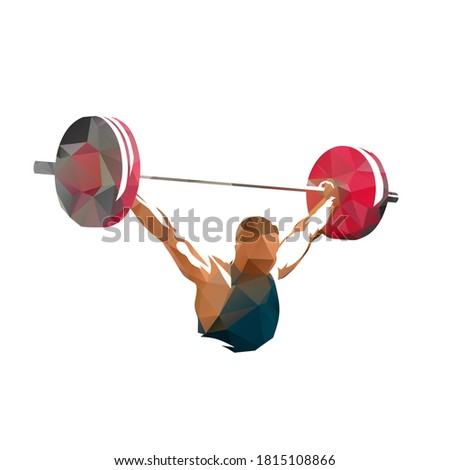 Weightlifter lifts big barbell, low polygonal isolated vector illustration, geometric drawing from triangles