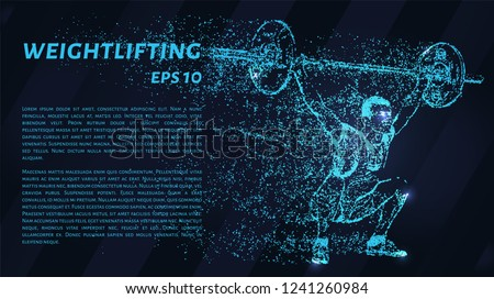 Weightlifter of the blue points of light. Weightlifting concept design