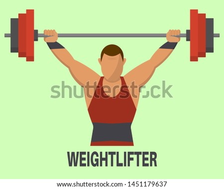 Weightlifter's icon. The weight-lifter lifts a bar. Sports concept. A vector illustration in flat style.