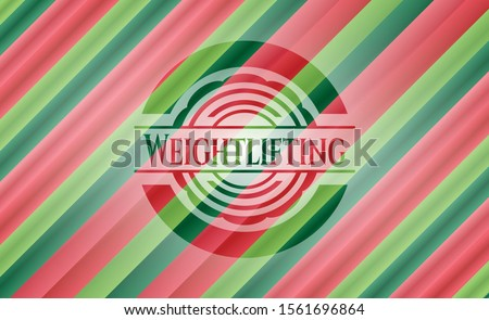 Weightlifting christmas badge. Vector Illustration. Detailed.