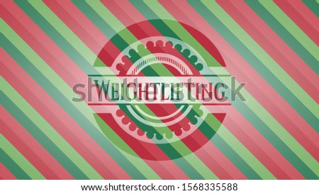 Weightlifting christmas colors style emblem. Vector Illustration. Detailed.