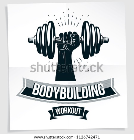 Weightlifting club promotion flyer. Strong muscular arm holds dumbbell, vector illustration.