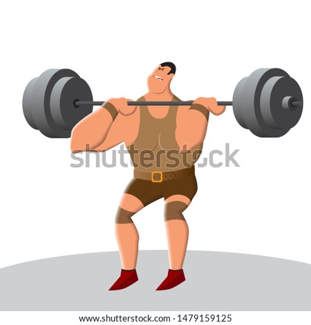 Weightlifting develops strength and endurance. Lifting the bar is a heavy and tough sport. A strong man lifts an exorbitant weight. Vector illustration