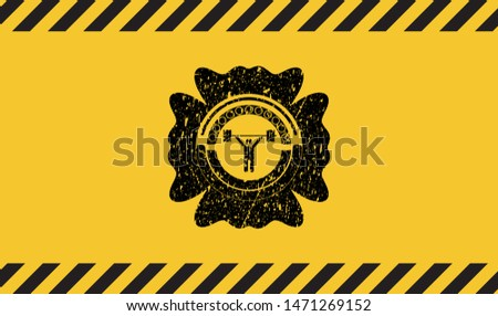 weightlifting icon black grunge emblem with yellow background. Vector Illustration. Detailed.