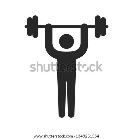 Weightlifting. Icon. Illustration of Fitness Icons, sports and exercise, caring figure and health, vector illustration.
