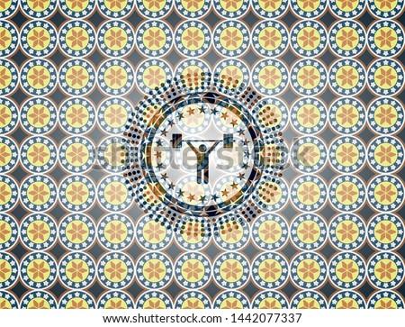 weightlifting icon inside arabic style emblem. Arabesque decoration.