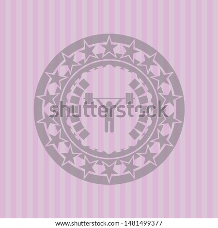 weightlifting icon inside badge with pink background