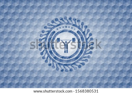 weightlifting icon inside blue badge with geometric background.